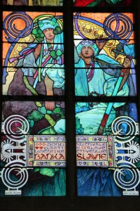Mucha's stained glass window inside St. Vitus Cathedral