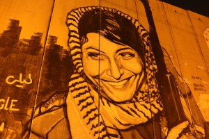 graffiti of a Jordanian female soldier on the wall