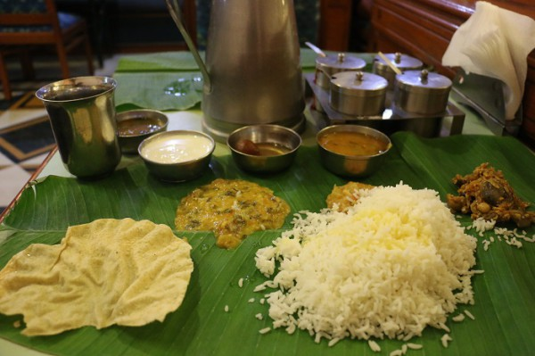 typical cuisine in South India served on banana leaf